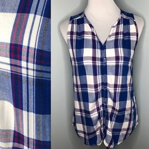 Tops - Plaid Sleeveless Button Down